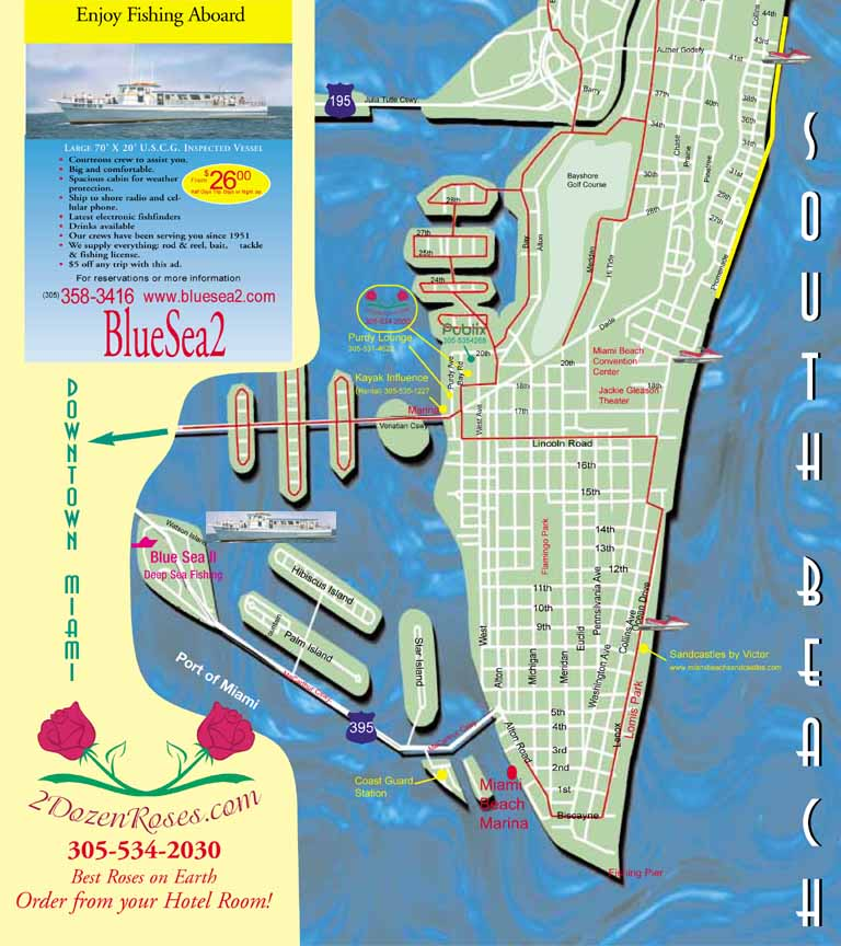 Map Of South Beach Miami Miami South Beach Street Map